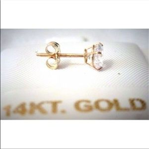 Jewelry - 14k Solid Yellow/White Gold CZ Stud Earrings